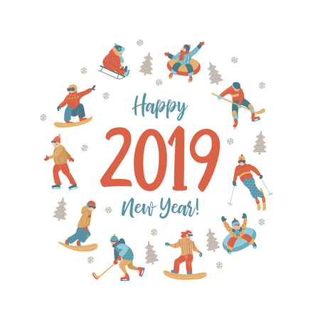 Cute greeting card, vector illustration. People are engaged in winter sports, ride a roller coaster on tubing and sledding, skiing, skating and snowboarding, playing hockey.