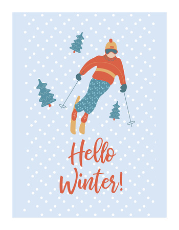 Hello, winter. New years greeting card. Vector illustration. The guy is skiing.  イラスト・ベクター素材