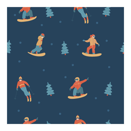 Seamless pattern. Dark blue background. Happy New Year. Vector illustration. Winter sports and recreation.