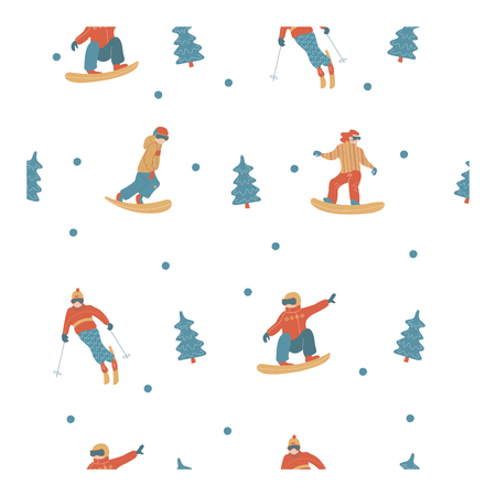 Seamless pattern. On white background. Happy New Year. Vector illustration. A set of characters engaged in winter sports and recreation. Ilustrace