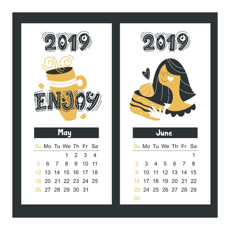 Calendar 2019. Cute girl with a mug of hot drink. Vector typography. Holiday greeting card designer.