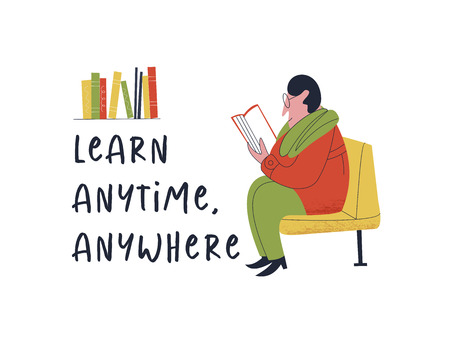Learn anytime anywhere. Vector illustration. A man reading a book sitting in public transport.