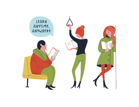 Learn anytime anywhere. Vector illustration. A group of people, a man and a woman read books in public transport. Ilustração