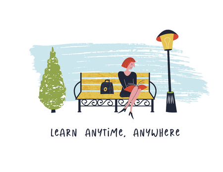 Learn anytime anywhere. Vector illustration. Girl sitting on a bench in the Park and reading a book.