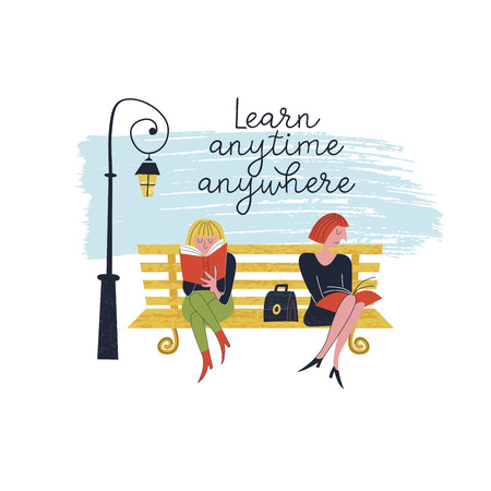 Learn anytime anywhere. Vector illustration. Two girls sit on a bench in the Park and read books. Illustration