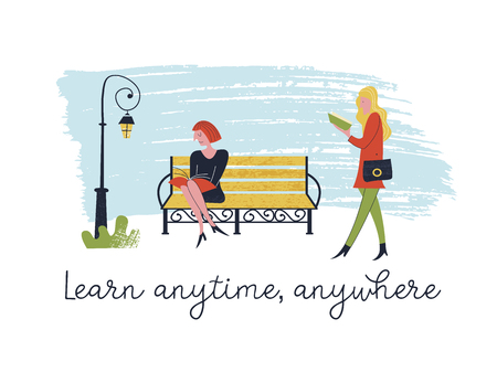 Learn anytime anywhere. Vector illustration. People read books. Always and everywhere. Girl walking and reading a book. Another girl is sitting on a bench reading a book too.