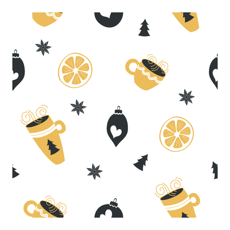 Seamless pattern on white background. Cute hand drawn cups with hot tea and coffee, Christmas decorations and lemons. Perfect for printing on wrapping paper for packaging Christmas gifts.