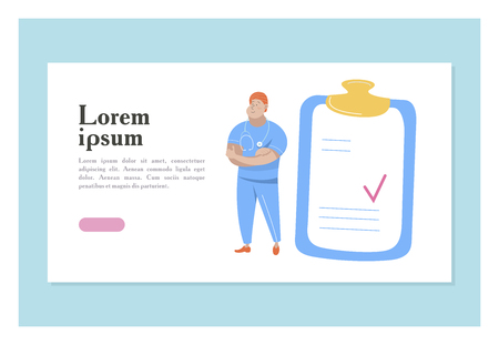 Vector illustration with space for text. For medical presentations and consultations. Doctor in blue uniform and a clipboard with a page.