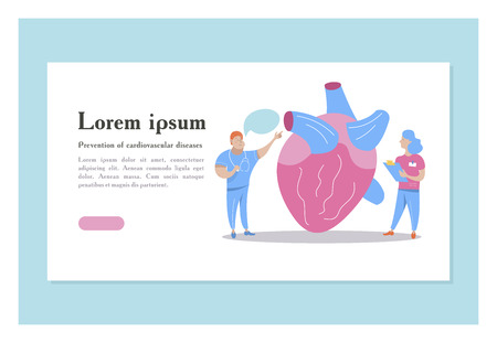 Heart of man. Miniature doctors study and treat the big heart. Vector concept of medical cardiological care. Illustration
