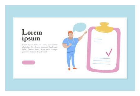 Vector illustration with space for text. For medical presentations and consultations. The doctor in blue uniform points to the clipboard with the page. Illustration