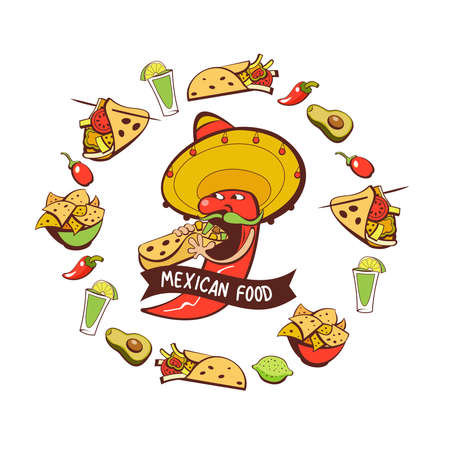 Red chili in a sombrero eating burritos. Mexican food. A set of popular Mexican dishes, fast food. Vector illustration. Vector Illustration