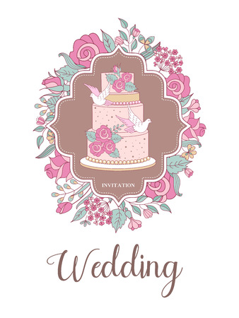Wedding invitation. Beautiful wedding card with beautiful wedding cake decorated with delicate pink flowers and white doves. Vector illustration. Çizim