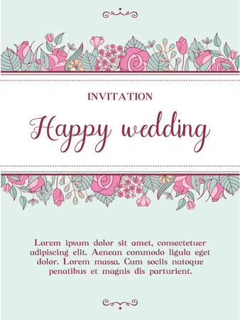 Wedding invitation. Lovely romantic wedding card with delicate pink flowers. Vector illustration. Vettoriali