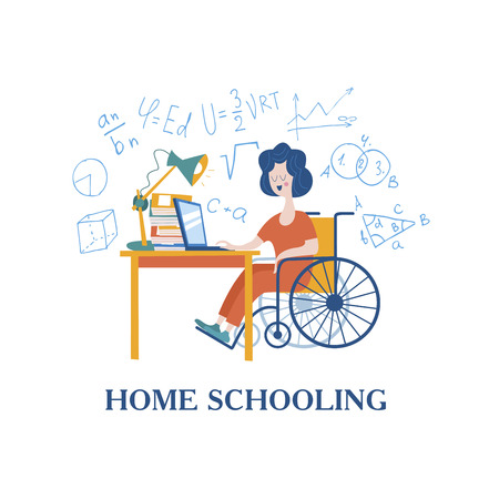 Home schooling. The girl is a disabled person in a wheelchair gets his education at home. Learning online. Vector illustration. The concept of homeschoolin Vettoriali