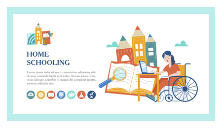 Home schooling. The girl is a disabled person in a wheelchair gets his education at home. The template of the landing page. Learning online. Vector illustration. The concept of homeschoolin Ilustração