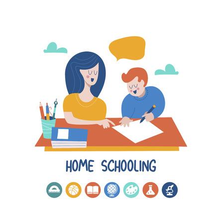 Educación en casa. Mamá ayuda al niño a aprender. Educación en condiciones cómodas. Conjunto de iconos vectoriales. Ilustración de vector de estilo plano.