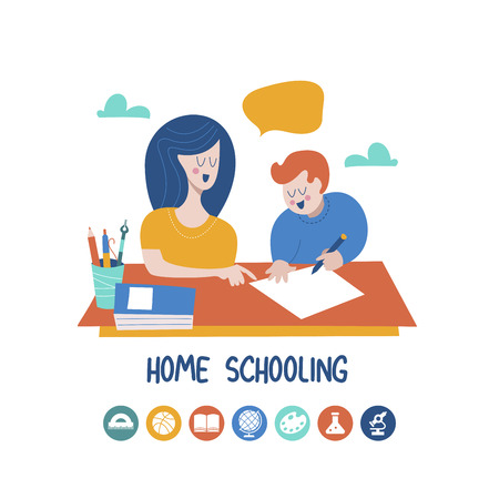 Home schooling. Mom helps the child learn. Education in comfortable conditions. Set of vector icons. Vector illustration in flat style. Illustration
