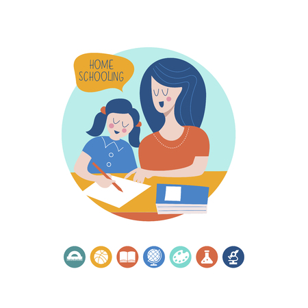 Home schooling. Mom helps the child learn. Education in comfortable conditions. Set of vector icons. Vector illustration in flat style. Ilustração