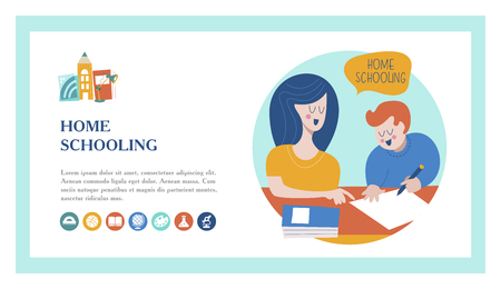 Home schooling. Mom helps the child learn. Education in comfortable conditions. The template of the landing page. Vector illustration in flat style. Set of vector icons.