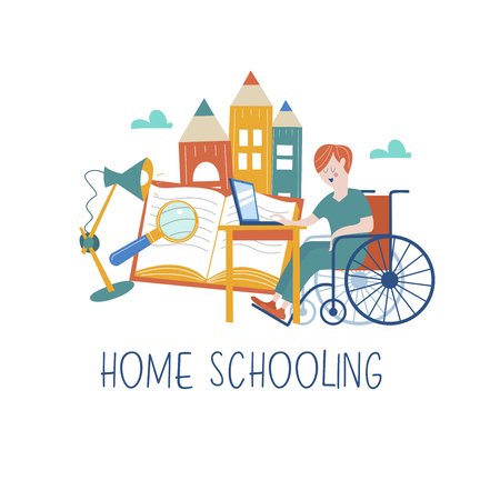 Home schooling. The boy is a disabled person in a wheelchair gets his education at home. Learning online. Vector illustration. The concept of homeschoolinn. Archivio Fotografico - 114085229