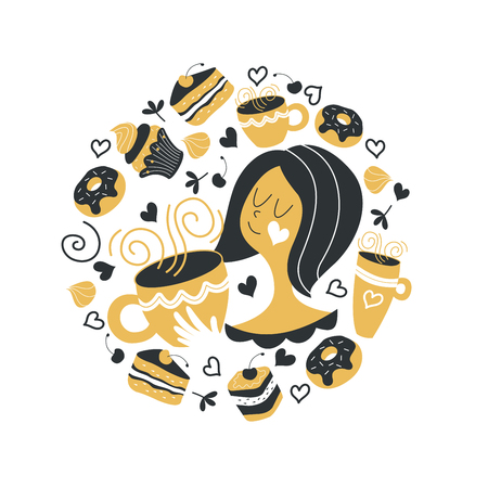 Cute girl with a Cup of hot tea. Round vector concept. A Cup of hot tea on a cold winter day. Delicious cakes, donuts and sweets. Isolated on white background. Perfect for decorating coffee shops, shop Windows and mugs.