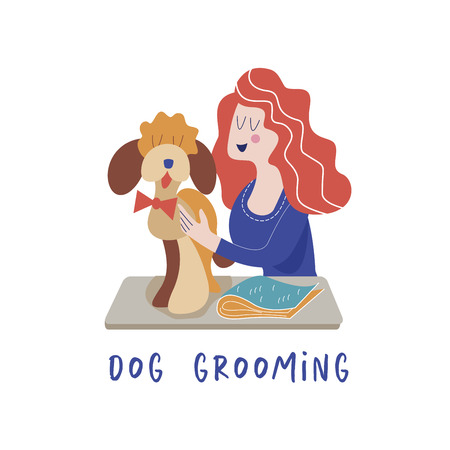 Cute dog at groomer salon.Woman caring for the dog. Dog grooming concept. Hand drawn vector illustration. Vector illustration for pet hair salon, styling and grooming shop, pet store for dogs and cats.