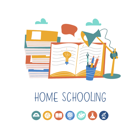 The concept of homeschooling. Home office. Textbooks, books, pencils and a Desk lamp on the table. Emblem of education. Vector illustration.