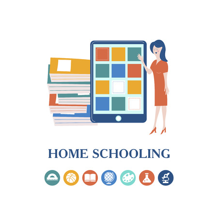 The concept of homeschooling. Home office. The teacher teaches using a tablet online. Emblem of education. Vector illustration.