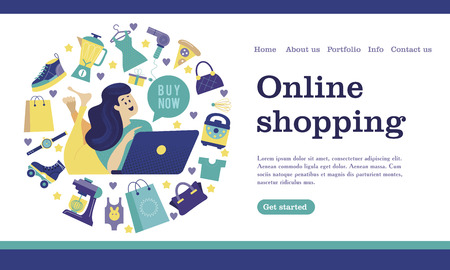 Web store landing page template. Modern flat web page design concept for website and mobile website. Girl with a computer shopping in the online store. Vector illustration.