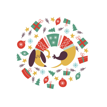 Cute dog breed Dachshund in a bright knitted sweater. Christmas composition. Dogs and Christmas toys, gifts, stars. The composition is made in the form of a circle. It will look good on t-shirts, mugs, postcards.