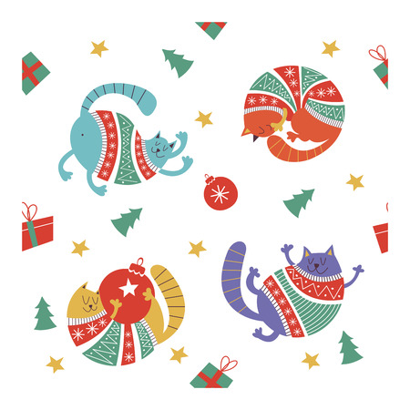 Adorable Christmas cats in warm sweaters. Hand drawn characters, Christmas decorations and Christmas trees. Seamless vector pattern.