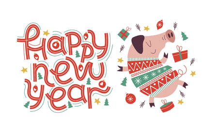 Happy new year greeting card. Lettering hand drone. Cute pig in a knitted sweater, Christmas decorations and gifts. The pig is the symbol of 2019. 向量圖像