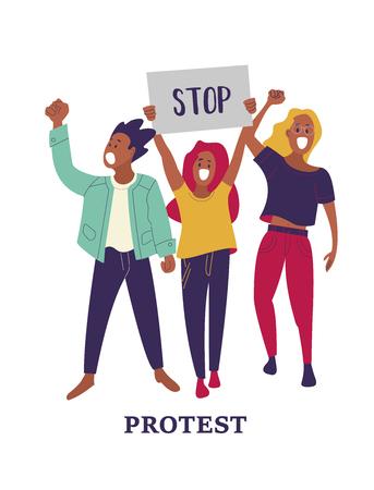 Un grupo de hombres y mujeres participa en la protesta. Personas con carteles. Ilustración de vector colorido Ilustración de vector