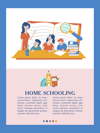 The concept of home schooling. The emblem of home education for large families and families with children with disabilities. Vector illustration.