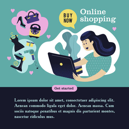 Modern design concept of flat web pages to a web site and mobile web site. Girl with a computer shopping in the online store. Vector illustration. Illustration