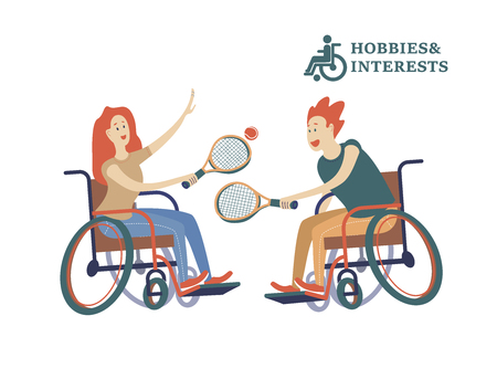 A man and a woman with a wheelchair playing tennis. The concept of a society and a community of persons with disabilities. Hobbies, interests, lifestyle of people with disabilities. Vector illustration of flat cartoon style, isolated, white background. Illustration