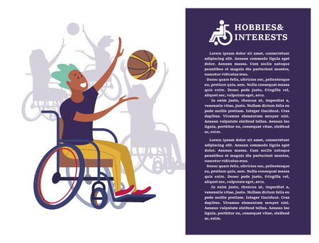 A man with a wheelchair playing volleyball, basketball. The concept of a society and a community of persons with disabilities. Hobbies, interests, lifestyle of people with disabilities. Vector illustration of flat cartoon style, isolated, white background.