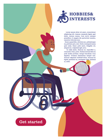 A man with a wheelchair playing tennis. The concept of a society and a community of persons with disabilities. Hobbies, interests, lifestyle of people with disabilities. Vector illustration of flat cartoon style, isolated, white background. Ilustração