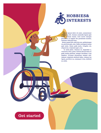 A man with a wheelchair playing the trumpet. The concept of a society and a community of persons with disabilities. Hobbies, interests, lifestyle of people with disabilities. Vector illustration of flat cartoon style, isolated, white background.