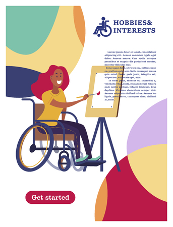 A woman with a wheelchair draws. The concept of a society and a community of persons with disabilities. Hobbies, interests, lifestyle of people with disabilities. Vector illustration of flat cartoon style, isolated, white background.