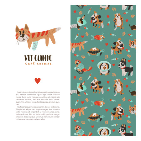 Template leaflets, banners, promotional products veterinary clinic. Seamless pattern on green background with lots of cute Pets.