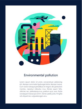 Contaminación del medio ambiente por emisiones nocivas a la atmósfera y al agua. Fábricas, chimeneas humeantes, la descarga de desechos nocivos en el río podría. Vector ilustración colorida con texturas con espacio para texto. Ilustración de vector