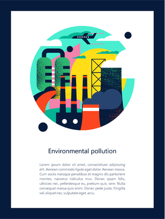 Pollution of the environment by harmful emissions into the atmosphere and water. Factories, Smoking chimneys, the discharge of harmful wastes into the river could. Vector colorful illustration with textures with space for text. Vettoriali