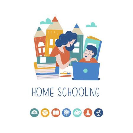 Il concetto di homeschooling. L'emblema dell'educazione domiciliare per famiglie numerose e famiglie con figli con disabilità. Illustrazione vettoriale.
