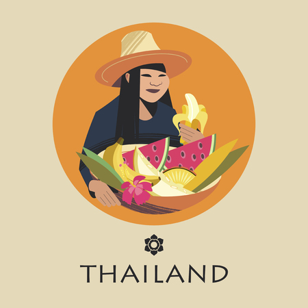 Thai woman in a hat sells exotic fruits. In the basket there are watermelons, bananas, melons, pineapple. Vector illustration. Round emblem. Çizim