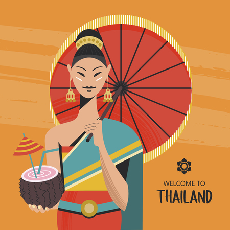 A beautiful Thai girl with a red umbrella holds an exotic coconut cocktail. The girl wears a national Thai costume. Welcome to Thailand. Vector colorful illustration. Çizim