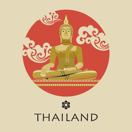 Majestic huge statue Of the Golden Buddha in Thailand. Thai ornament. Round emblem. Vector illustration in flat style. Vettoriali