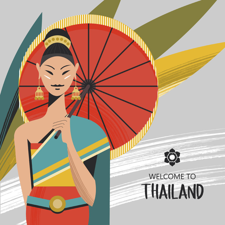 A beautiful Thai girl with a red umbrella. The girl wears a national Thai costume. Welcome to Thailand. Vector colorful illustration. Çizim