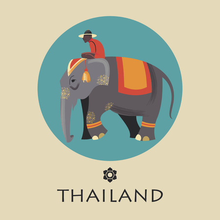The driver in the hat riding an elephant. Vector illustration.