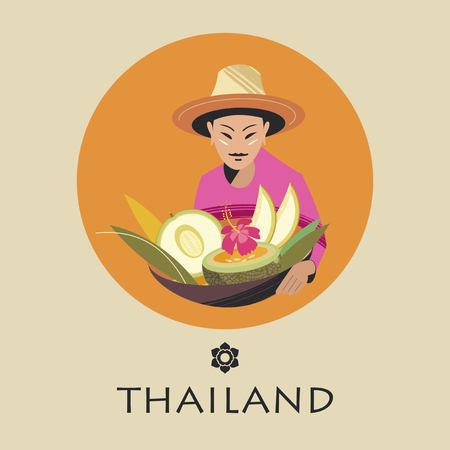 Thai woman in a hat sells melons. A large basket of fruit. Vector illustration. Round emblem.